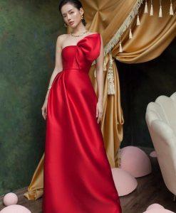 Đầm dạ hội đỏ thiết kế đính nơ xẻ đùi -D558