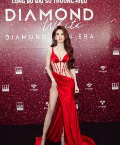 Đầm dạ hội đỏ thiết kế xẻ đùi cao sexy tôn dáng - D553
