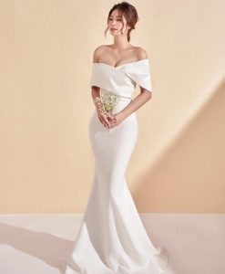 Đầm dạ hội đuôi cá trắng thiết kế bẹt vai quyến rũ - D545