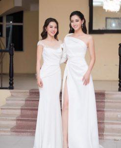 Đầm dạ hội tay dài thiết kế lệch vai xẻ đùi cao - D550