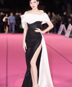 Đầm dạ hội kim sa đen thiết kế bẹt vai quyến rũ - D552