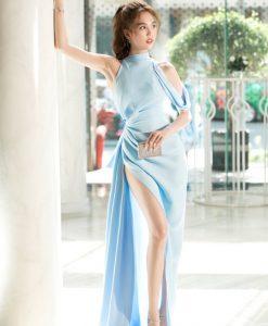 Đầm dạ hội lệch vai sát nách nhúng eo xẻ đùi cao - D554