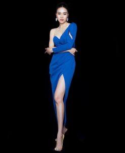 Đầm dạ hội lệch vai tay dài 1 bên siêu sexy - D562