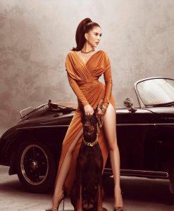 Đầm dạ hội tay dài khoét ngực xẻ đùi cao tôn dáng - D566