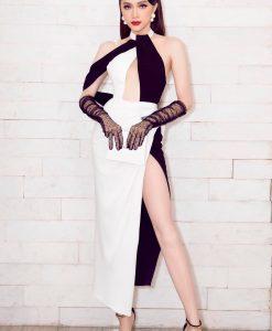 Đầm dạ hội trắng đen thiết kế cổ yếm quyến rũ - D568