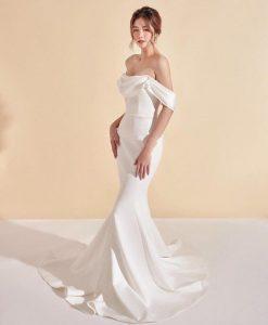 Đầm dạ hội trắng thiết kế cổ đỗ trước tôn dáng - D548