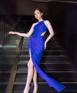 Đầm dạ hội xanh coban thiết kế cổ yếm khoét eo gợi cảm - D564