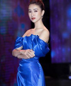 Đầm dạ hội xanh coban trễ vai xẻ đùi cao - D555