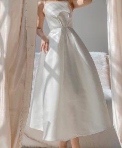 Đầm dạ hội xoè kiểu hai dây hở lưng xếp ly bụng - D560