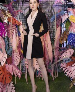 Đầm vest đen viền trắng ôm body siêu tôn dáng - DN492