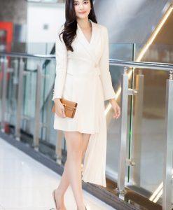 Đầm vest trắng thiết kế tay dài trẻ trung thanh lịch - DN491