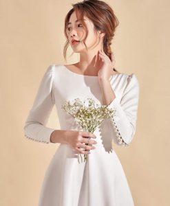 Váy dạ hội đuôi cá trắng thiết kế tay dài sang trọng - D546