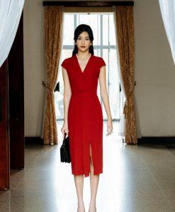 Đầm body dự tiệc đỏ thiết kế cổ V xẻ đùi quý phái - DN503