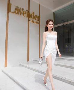 Đầm body trắng thiết kế cúp ngực xẻ đùi cao tôn dáng - DN499