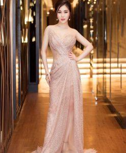 Đầm dạ hội thiết kế lệch vai xoắn eo vô cùng quyến rũ - D570