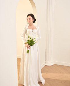Đầm dạ hội cổ vương tay dài dáng xoè xinh xắn - D590