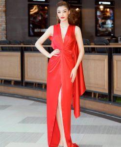 Đầm dạ hội đỏ thiết kế cổ V sát nách xẻ tà - D578