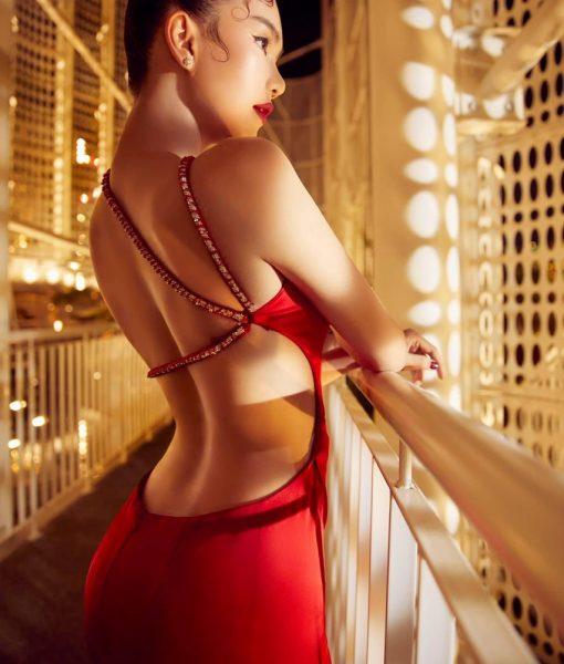 Đầm dạ hội đỏ thiết kế hở lưng khoét eo cực sexy - D576