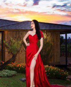 Đầm dạ hội đỏ thiết kế tay con 1 bên sang trọng - D588