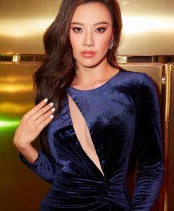 Đầm dạ hội nhung dài tay khoét ngực sâu - D592