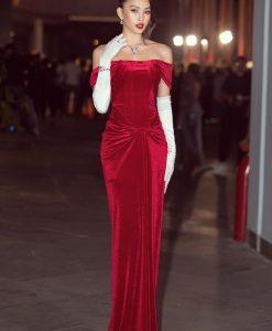 Đầm dạ hội nhung đỏ trễ vai ôm body cực tôn dáng - D594