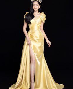 Đầm dạ hội vàng thiết kế tay rũ dáng xoè - D582