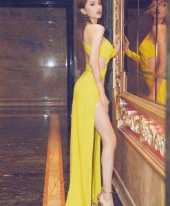 Đầm dạ tiệc dài tay xẻ đùi khoét eo sang trọng - D571
