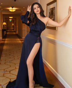 Đầm dạ tiệc tay dài thiết kế lệch vai xẻ đùi siêu cao - D580