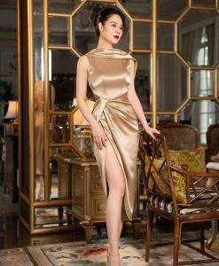 Đầm ôm dự tiệc thiết kế xoắn eo hở lưng siêu sexy - DN497