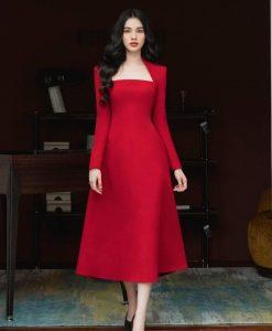 Đầm xoè cổ vuông thiết kế tay dài thanh lịch - DN500