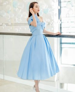 Đầm xoè dự tiệc xanh baby đính nơ quyến rũ - DN502