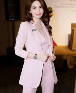 Set áo quần kiểu vest tay dài kèm áo trong quần tây hồng - J138