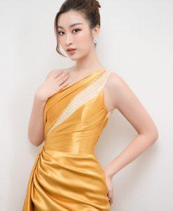 Váy dạ hội lệch vai phối ren quyến rũ - D591