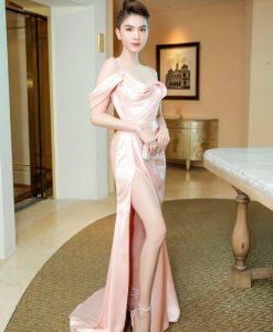 Váy dạ hội ngọc trinh rớt vai xẻ đùi cao quyến rũ - D586