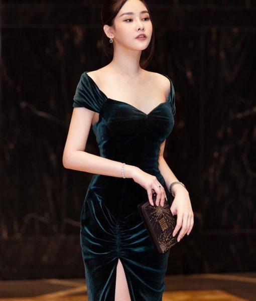 Váy dạ hội nhung thiết kế cúp ngực hở lưng tôn dáng - D573