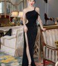 Váy dài dự tiệc đen khoét eo xẻ đùi quyến rũ - D581