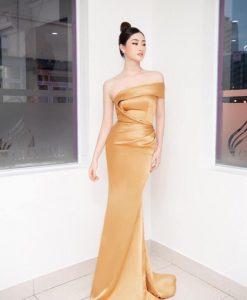 Váy dài thiết kế bẹt vai xoắn eo quyến rũ - D584