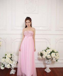 Đầm dạ hội kiểu cúp ngực thêu hoa sang trọng - D603