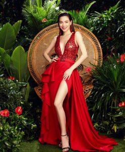 Đầm dạ hội kim sa cao cấp thiết kế cổ V dáng xòe - D602