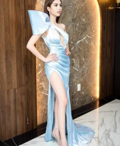 Đầm dạ hội kiểu lệch vai phối nơ xẻ ngực sâu - D604