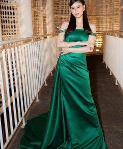 Đầm dạ hội phi lụa trễ vai ôm body tôn dáng - D597