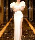 Đầm dạ hội tay phồng xẻ đùi cao siêu sexy - D601