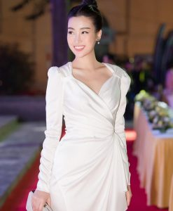Đầm dự tiệc dài tay trắng kiểu vest xoắn eo sang trọng - DN517