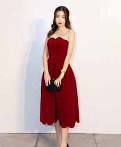 Đầm dự tiệc đỏ dáng xòe cúp ngực dễ thương - DN516