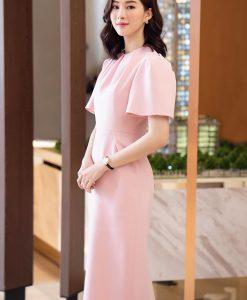 Đầm dự tiệc hồng pastel sang trọng kín đáo - DN508