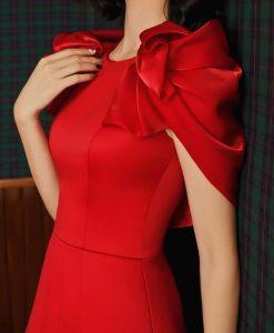 Đầm dự tiệc phi lụa đỏ thiết kế tay phồng ôm body - DN512