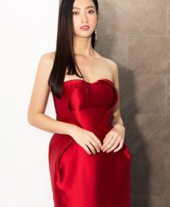 Đầm ôm đi tiệc đỏ cúp ngực dài qua gối - DN514