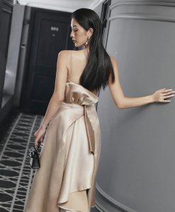 Đầm xoè kiểu cúp ngực hai dây bèo nơ sau lưng - DN505