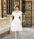Đầm xòe ren dự tiệc thiết kế cổ vuông quyến rũ -DN515