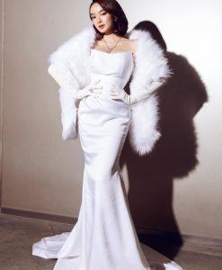 Váy dài dự tiệc trắng đuôi cá cúp ngực - D600